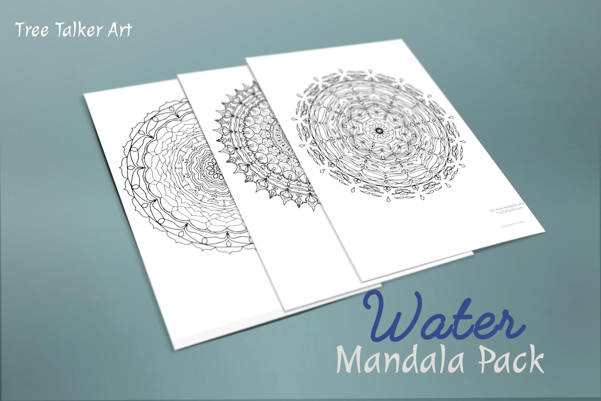 Water Downloadable Mandala Meditation Pack | Tree Talker Art