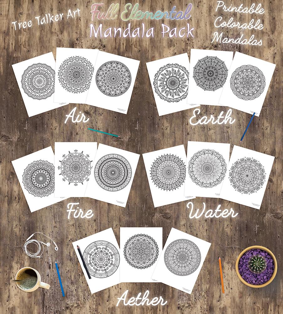 Full Elemental Pack Downloadable Mandala Meditation Pack | Tree Talker Art