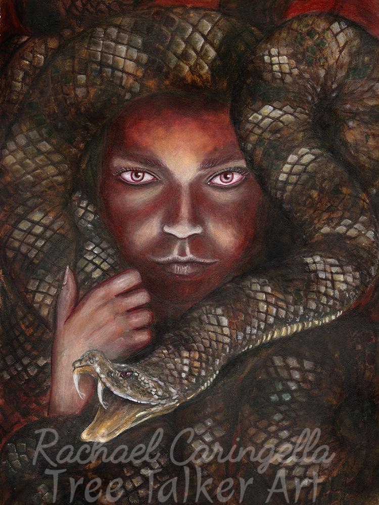 "Original Mixed Media Portrait Painting - ""Meretseger, She Who Loves Silence"" by Rachael Caringella - Tree Talker Art - Mixed Media Art"
