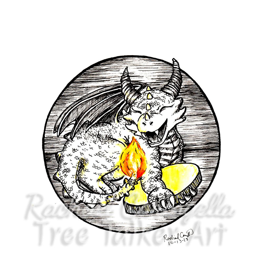 Tree Talker Art Inktober 2018 Illustration of Baby Dragon