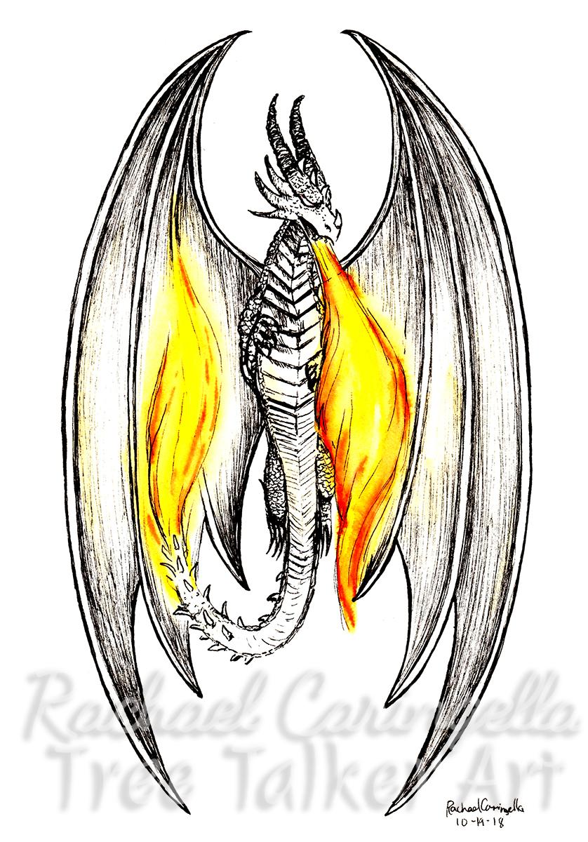 Tree Talker Art Inktober 2018 Illustration of Flying Dragon