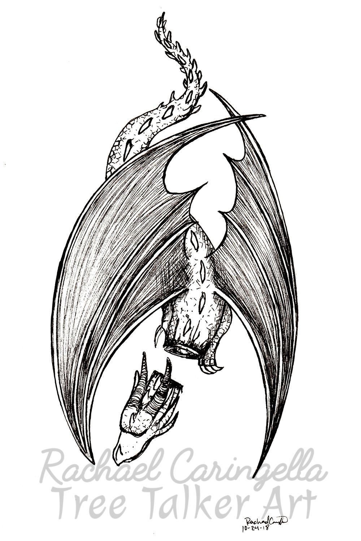 Tree Talker Art Inktober 2018 Illustration of Dead Dragon