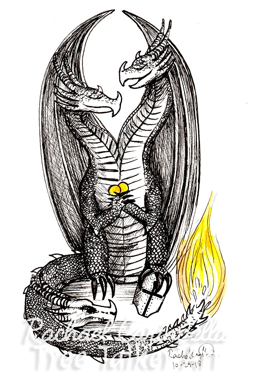 Tree Talker Art Inktober 2018 Illustration of two Headed Dragon