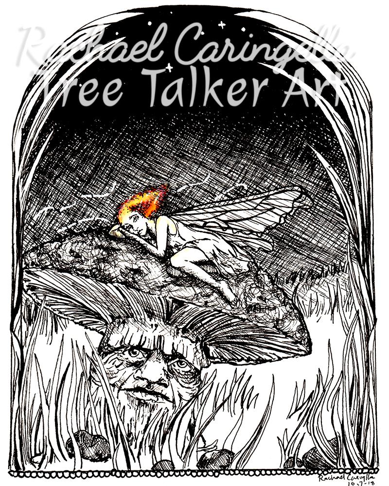 Tree Talker Art Inktober 2018 Illustration of a Tired Fairy On a Mushroom