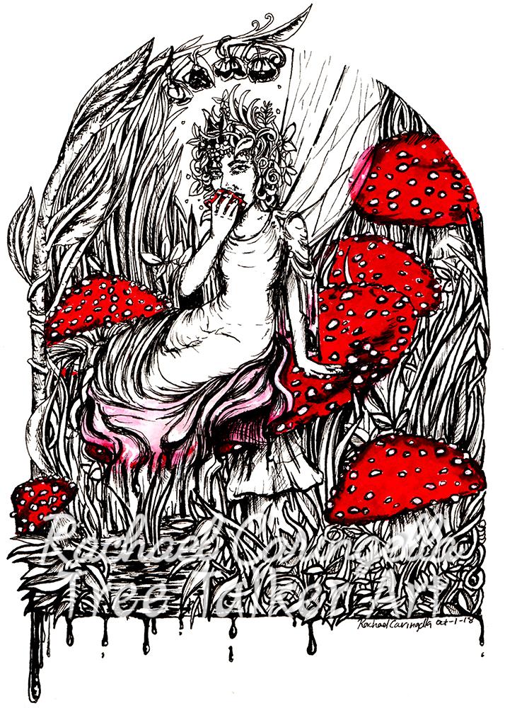 Fairy Mushroom Tree Talker Art Inktober 2018 Illustration of a Mushroom Fairy