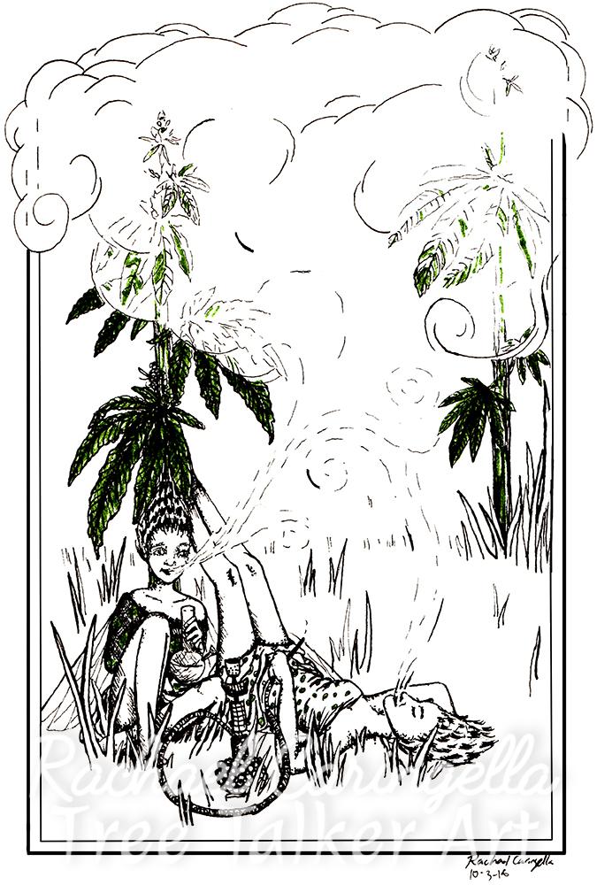 Smoking Fairies Tree Talker Art Inktober 2018 Illustration of smoking fairies cannabis