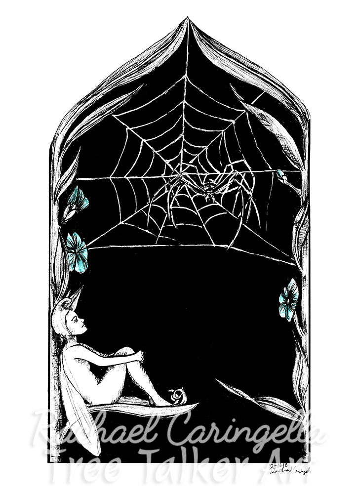 Fairy and Spider Tree Talker Art Inktober 2018 Illustration of a Fairy and Spider