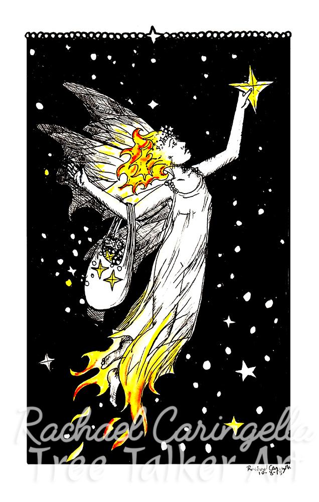 Starlight Fairy Tree Talker Art Inktober 2018 Illustration of a Fairy Star