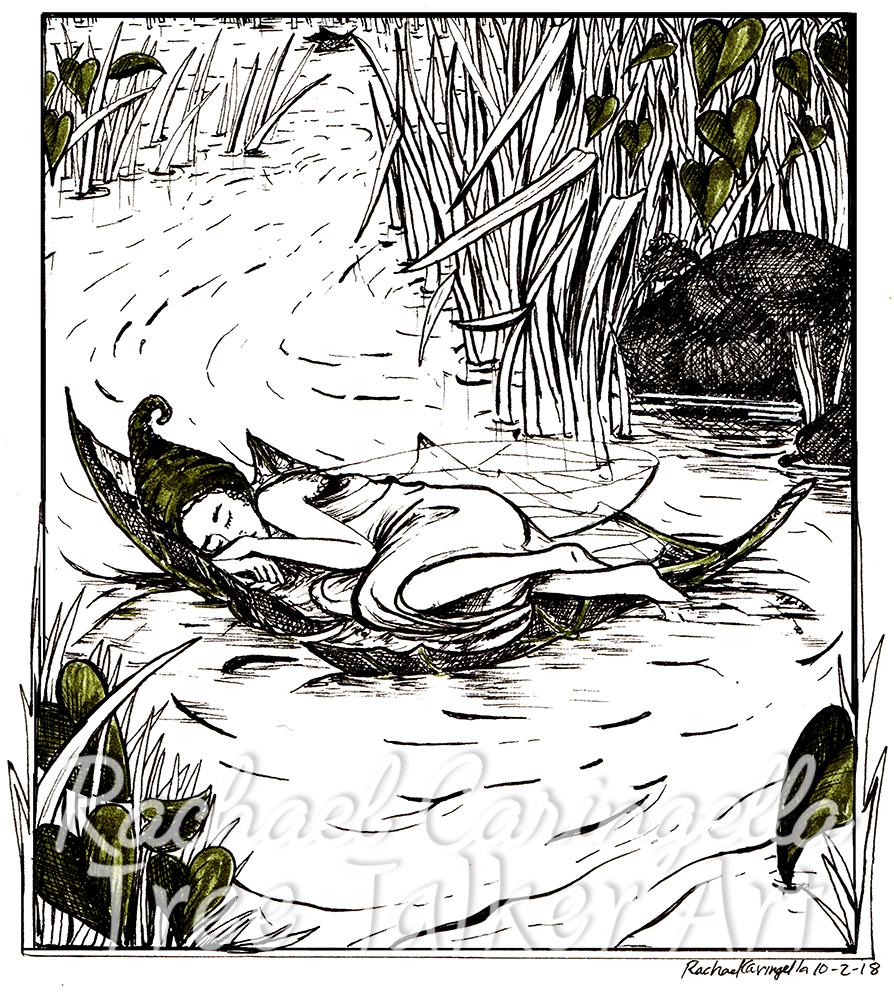 Sleeping Fairy Tree Talker Art Inktober 2018 Illustration of a Sleeping Fairy on a Leaf Raft