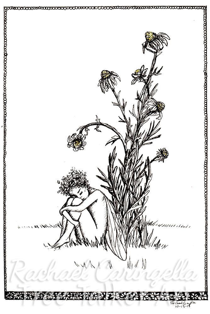Sad Weak Fairy Tree Talker Art Inktober 2018 Illustration of a Sad Fairy and Dying Daisy