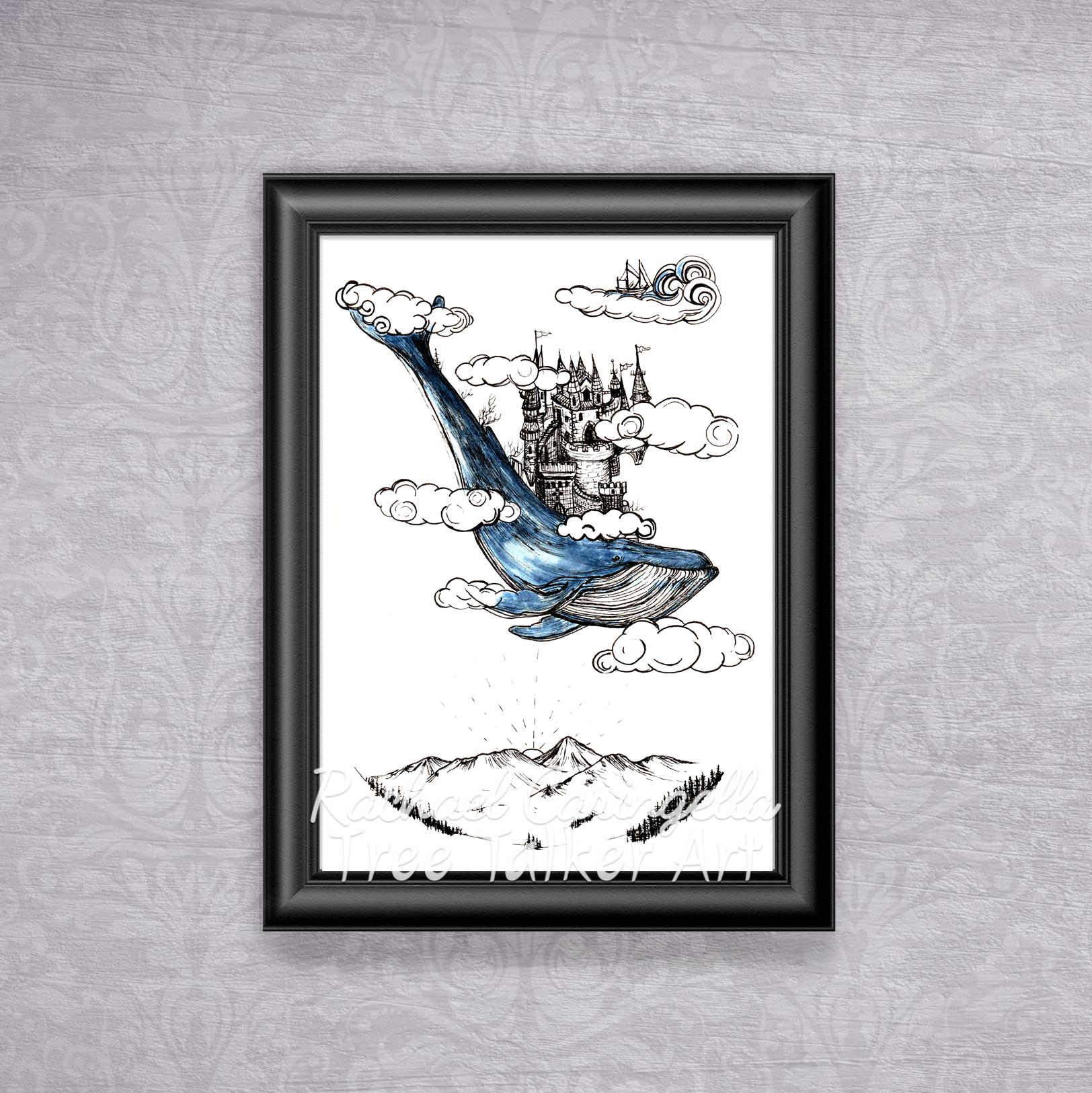 Castle on a whale Tree Talker Art Inktober 2018 Illustration of a Castle on a whale fantasy