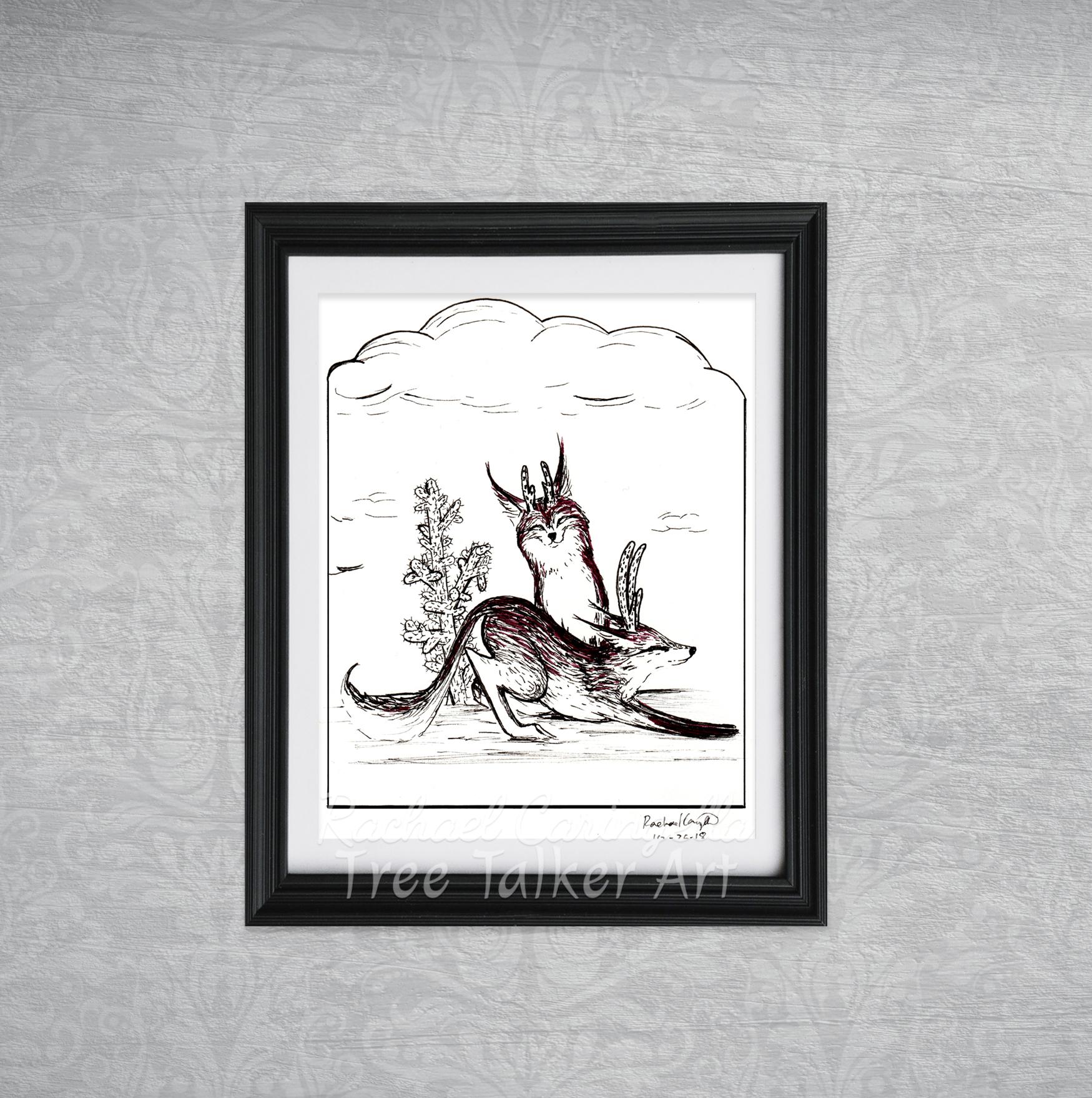 Fox Creature Tree Talker Art Inktober 2018 Illustration of A Fox Creature