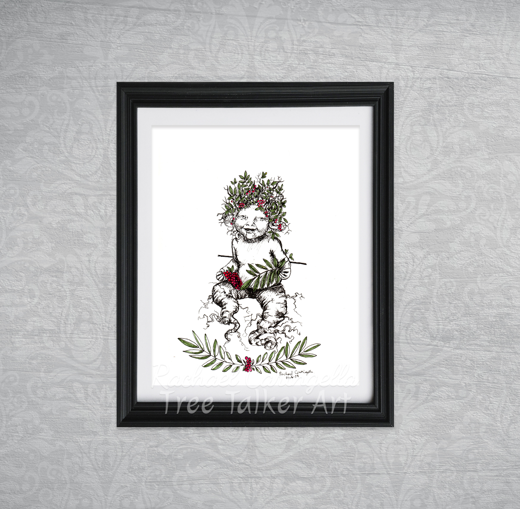 Mandrake Baby Tree Talker Art Inktober 2018 Illustration of Mandrake Baby Rowan