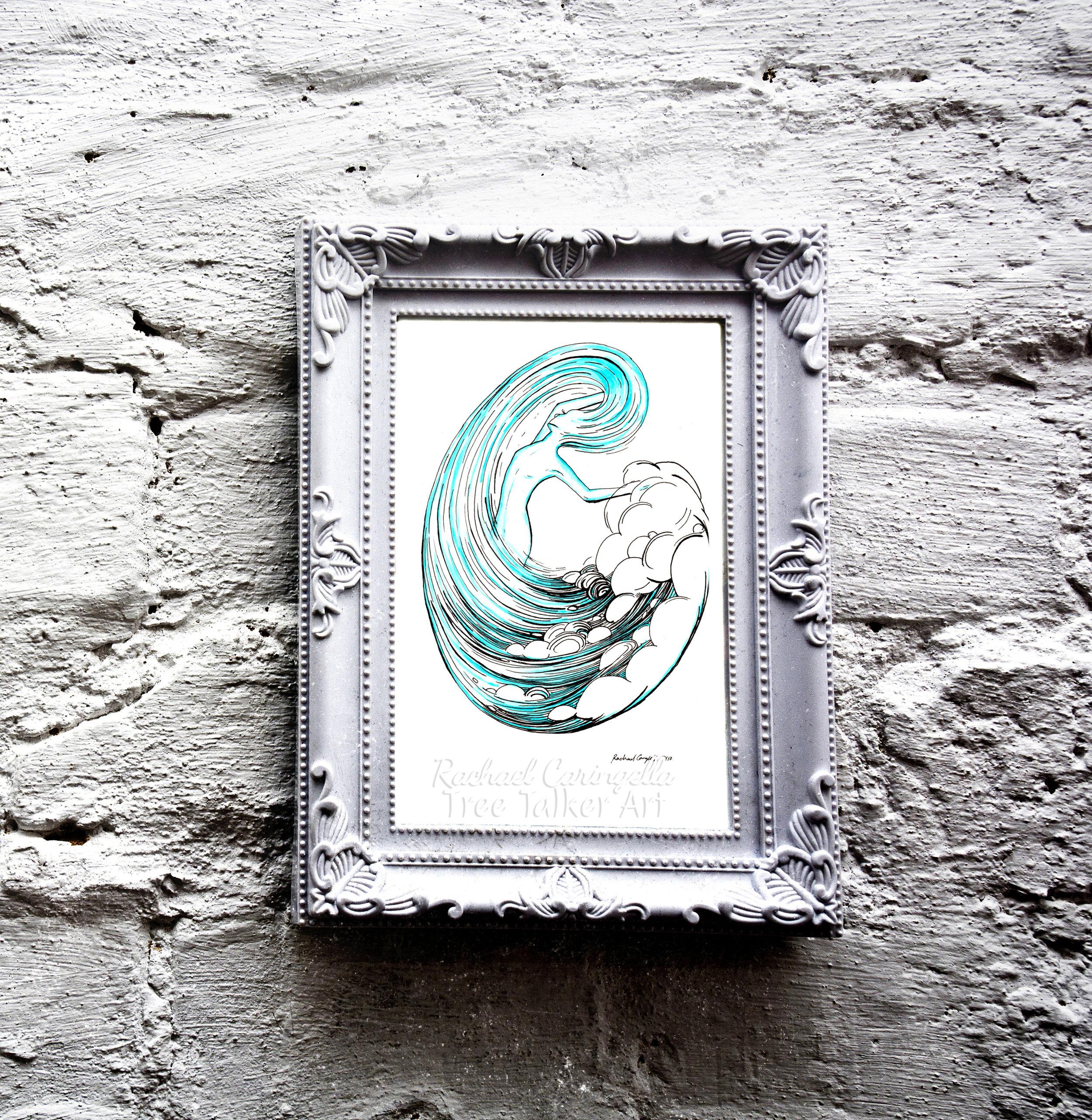 Water Spirit Tree Talker Art Inktober 2018 Illustration of a Water Spirit