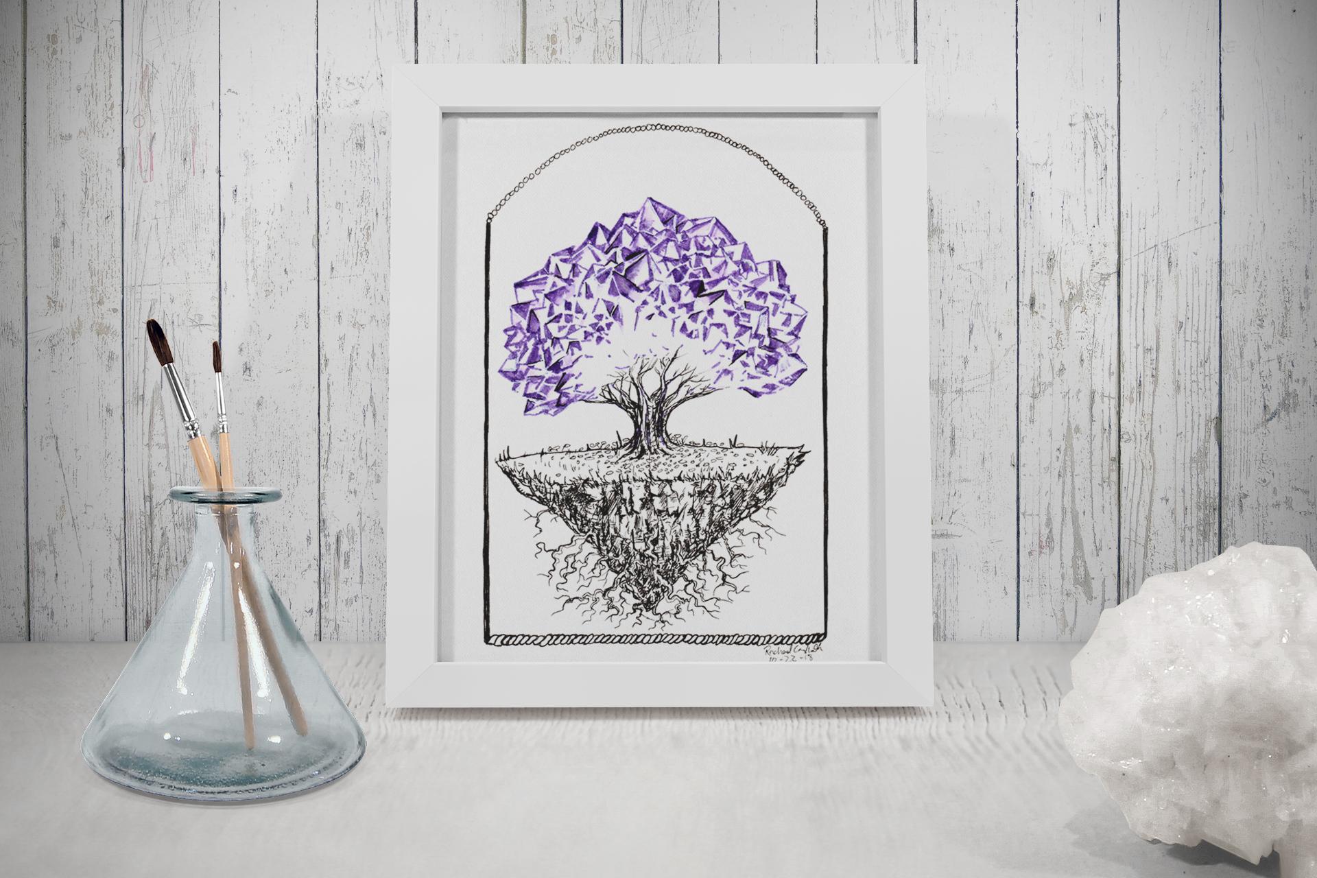 Crystal Tree Tree Talker Art Inktober 2018 Illustration of a Crystal Tree