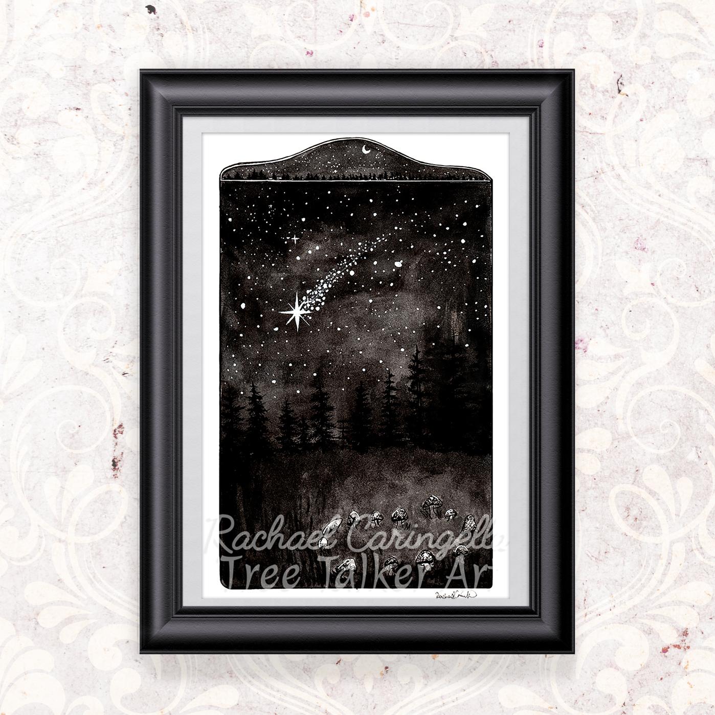 Shooting Star Mushroom Ring Ink Painting by Rachael Caringella