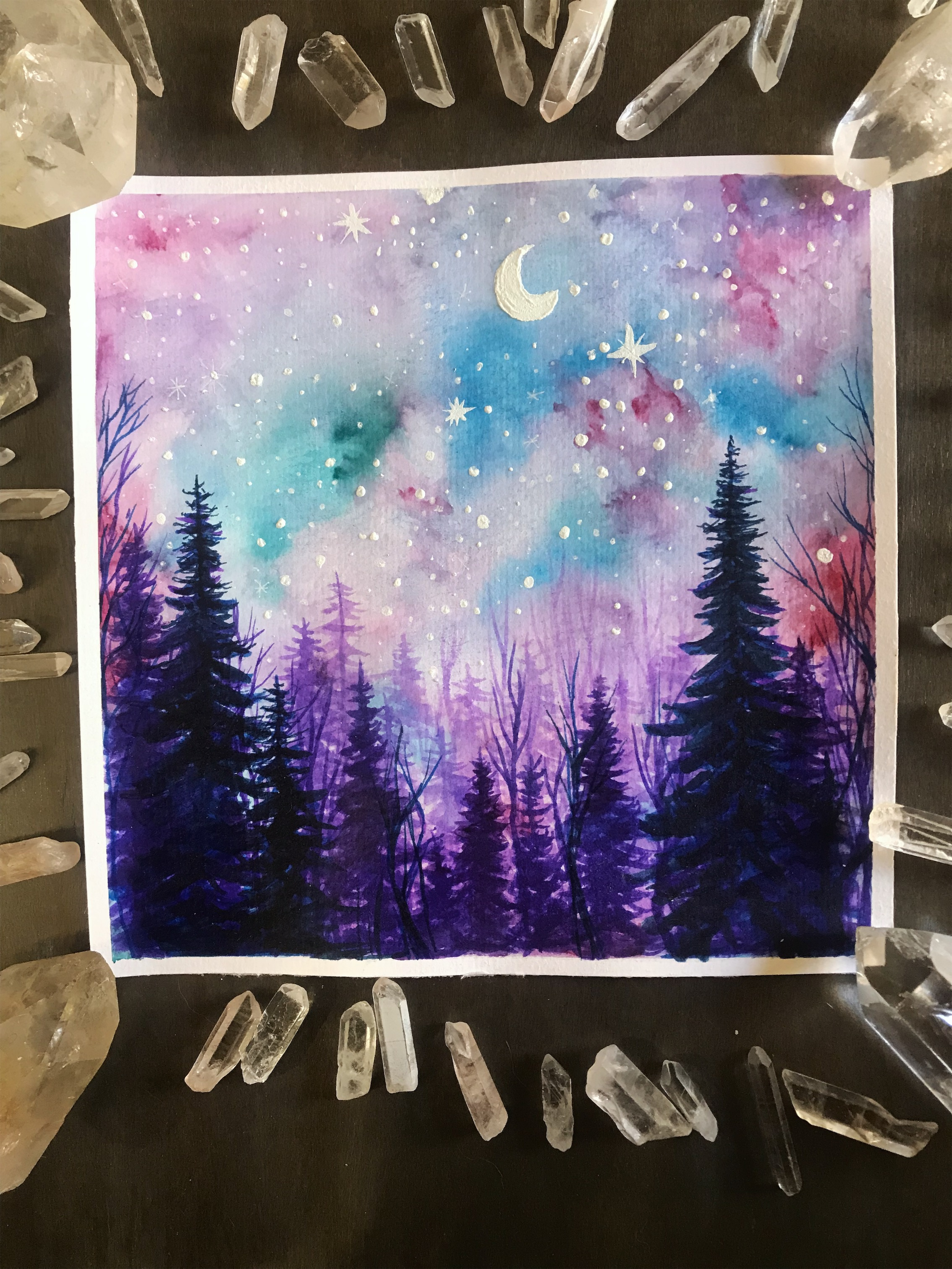 Pastel Forest Galaxy Scene | Tree Talker Art