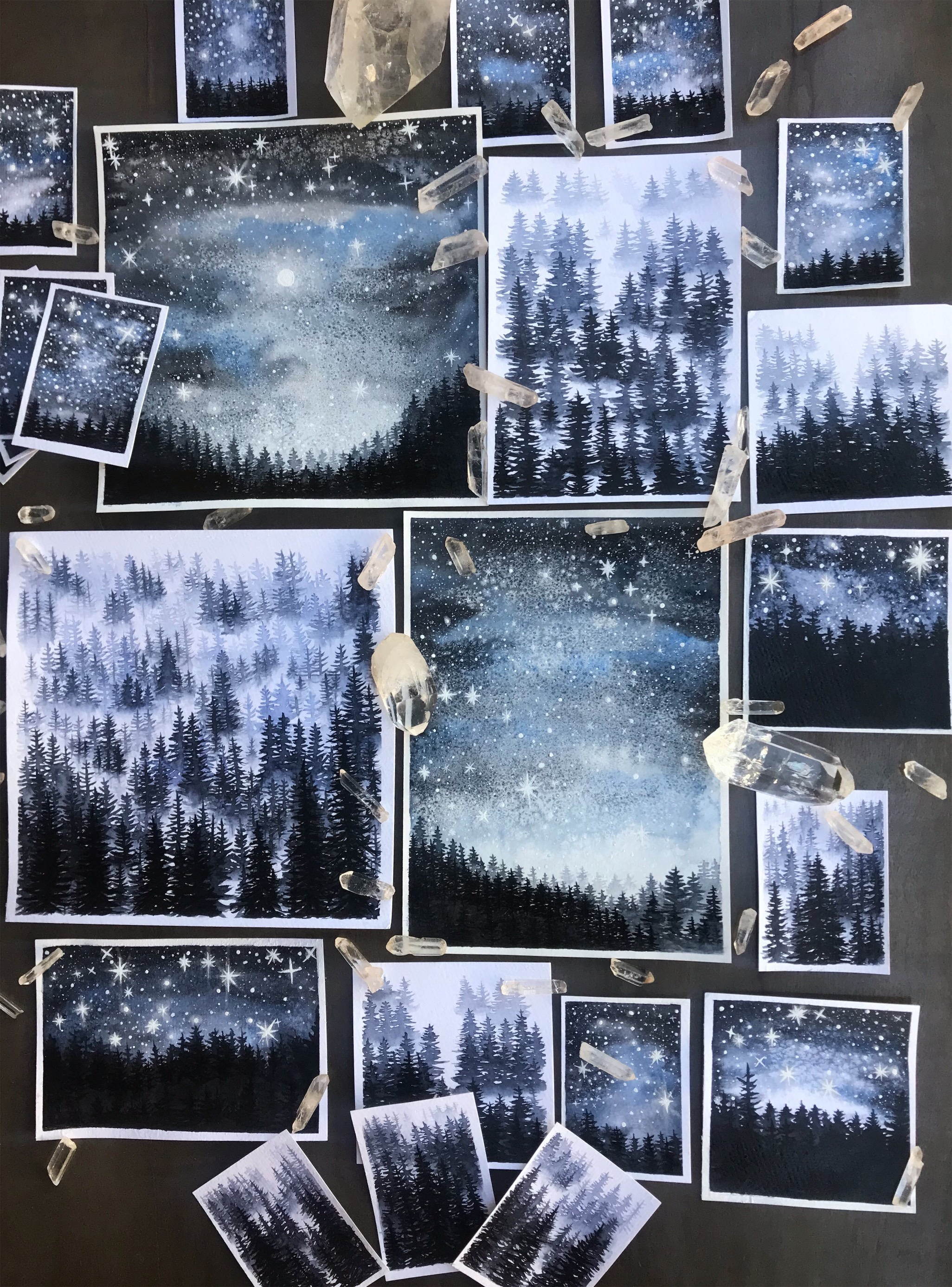 Glow in the dark misty forest scenes by rachael caringella | Tree talker art ATCS and originals