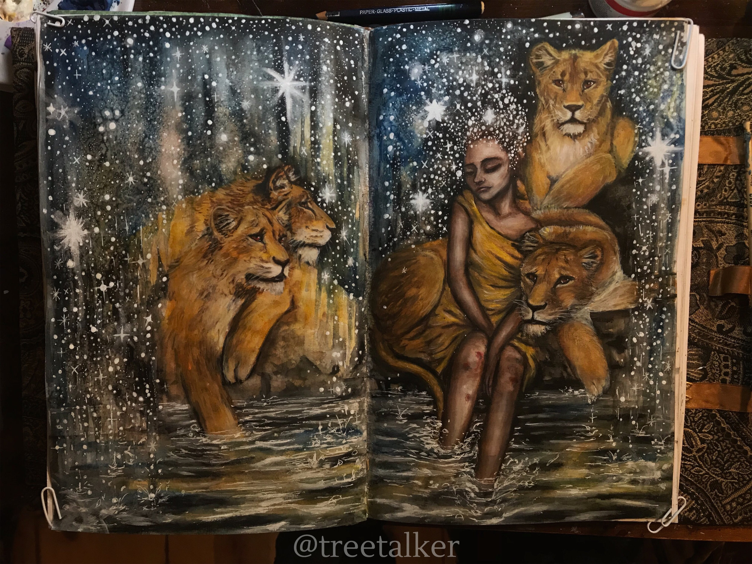 In with the New | New Moon in Leo | Lion Painting | Tree Talker Art