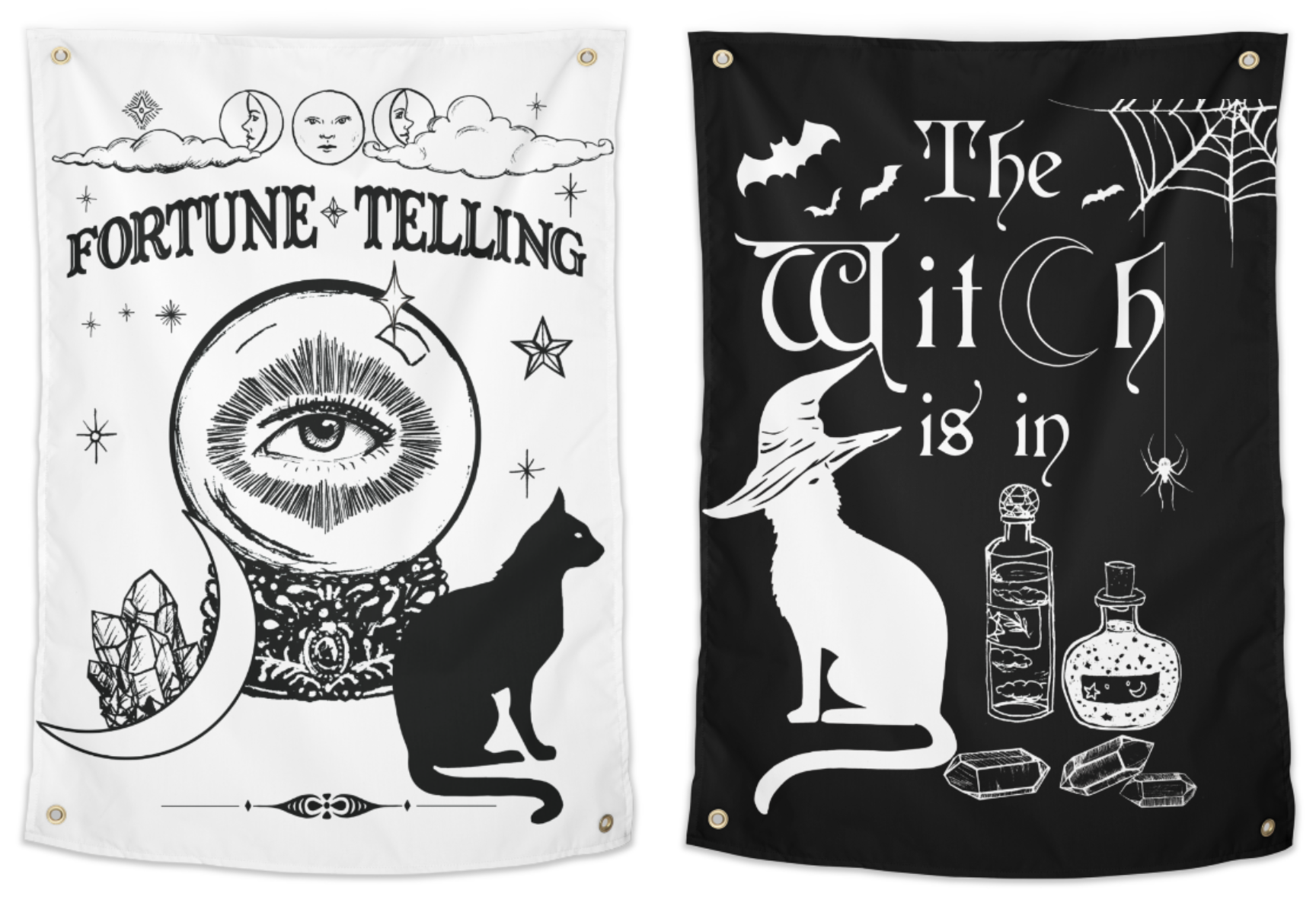 Vintage Style Fortune Telling Sign and tapestries  for psychic fairs