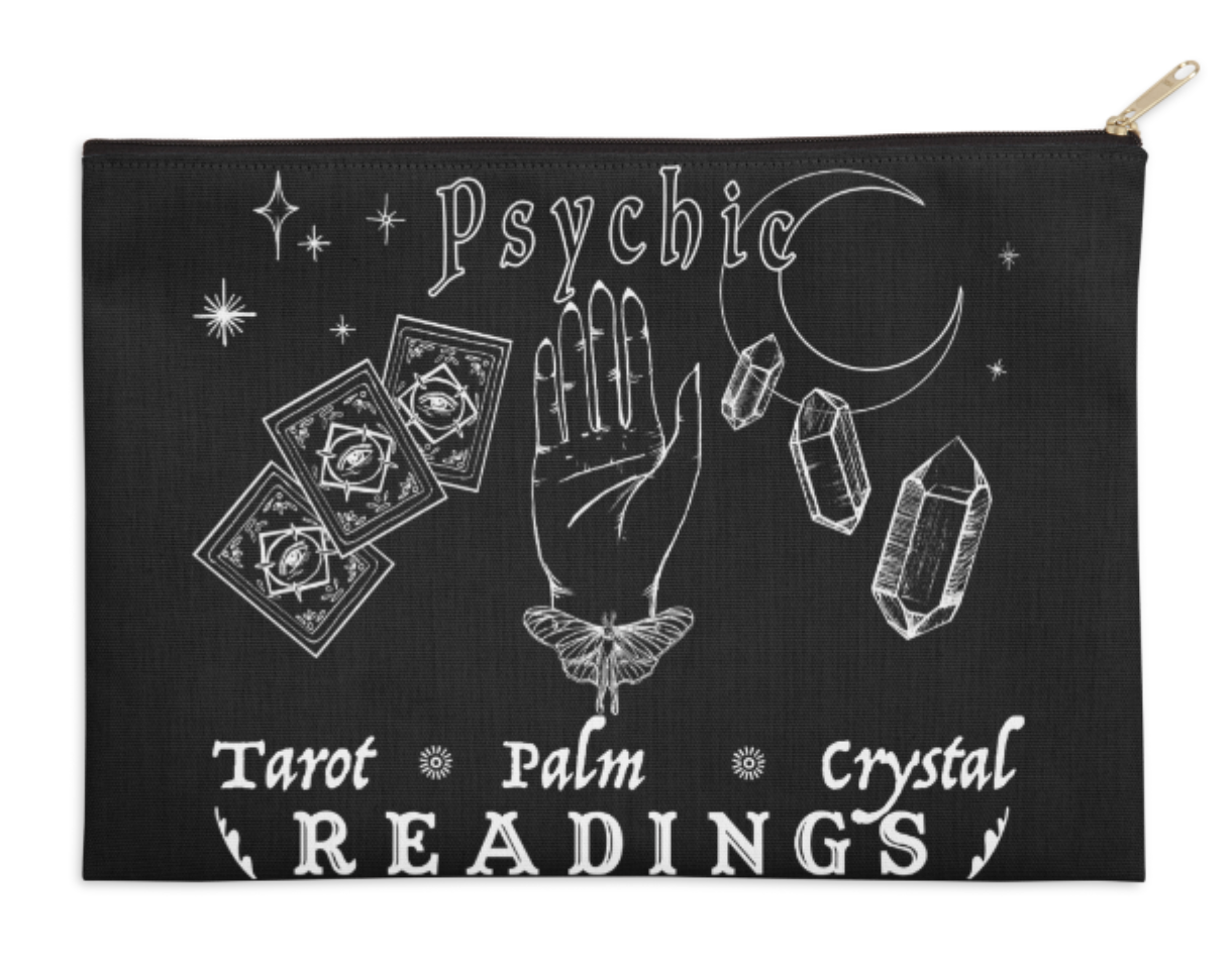 Vintage Style Fortune Telling Sign Tarot Card Pouch by Rachael Caringella