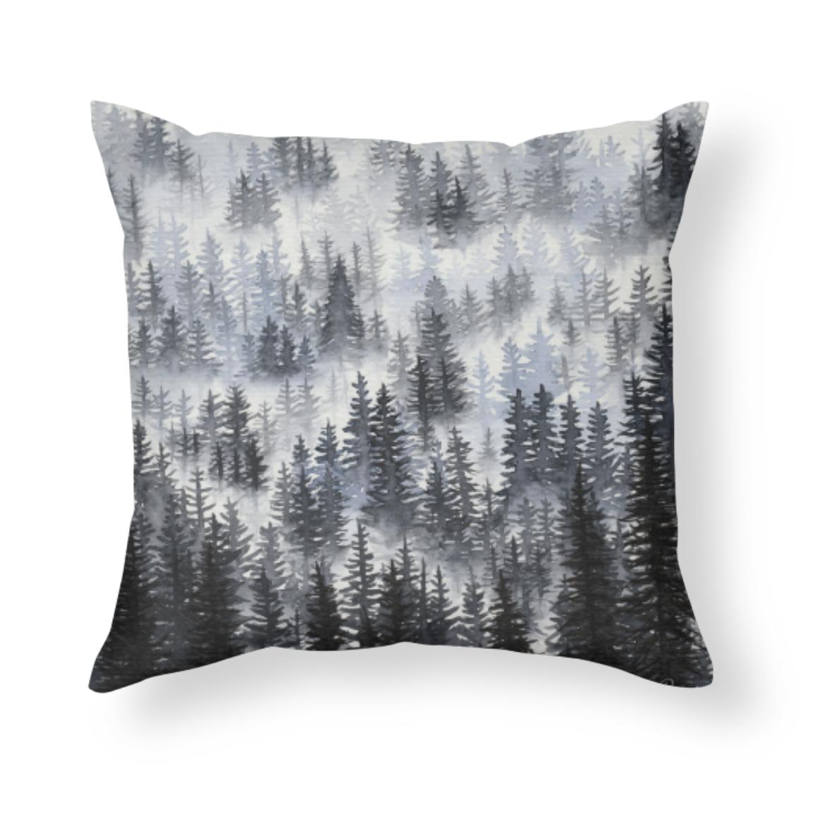 Misty Forest Scene by Rachael Caringella Tree talker art throw pillow