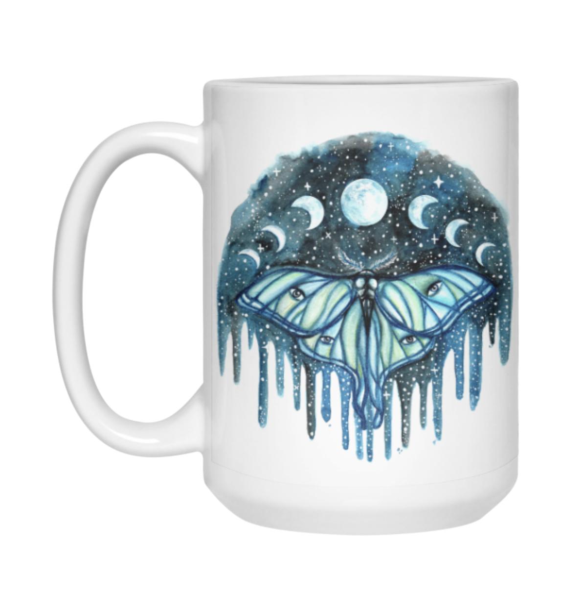 Luna Moth and lunar phase mug by rachael caringella tree talker art