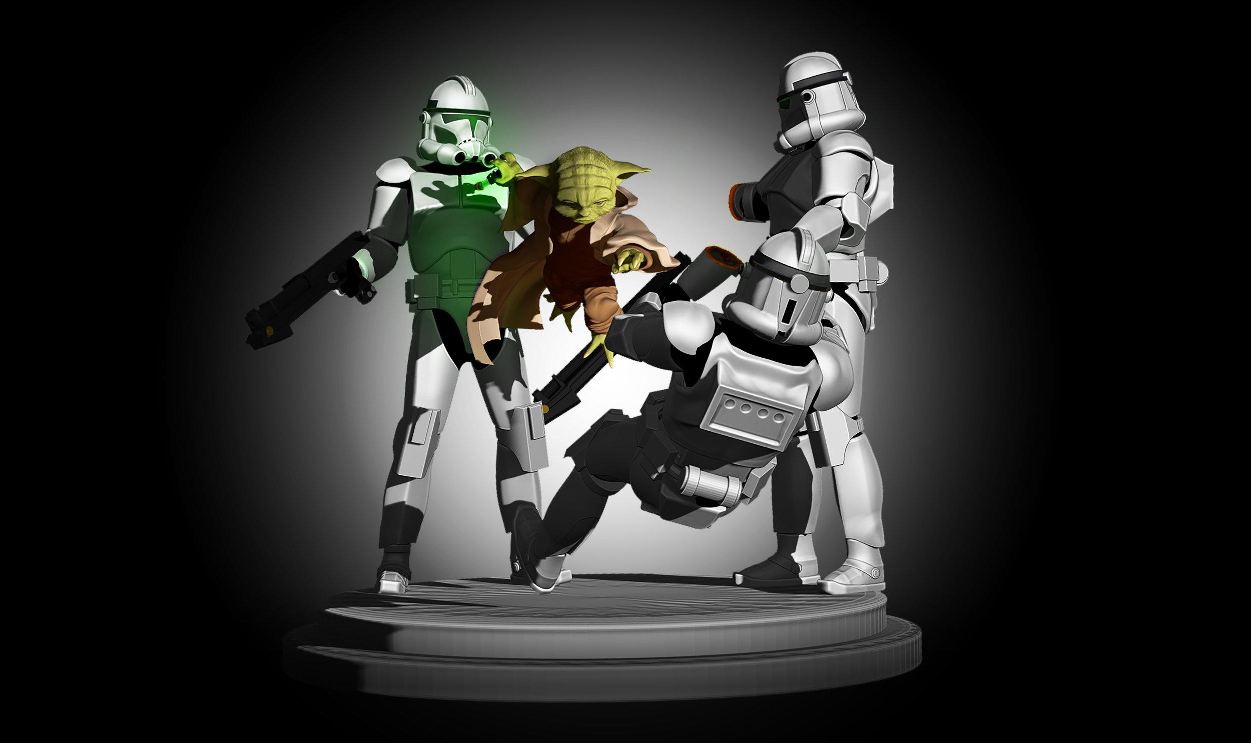 Yoda vs Clonetroopers