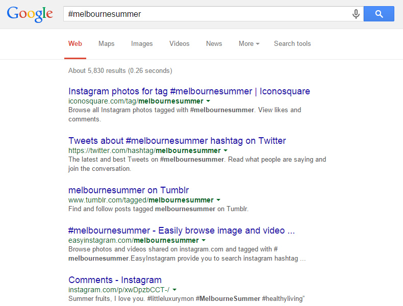 google search a hashtag