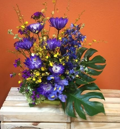 Spider mums and Blue iris