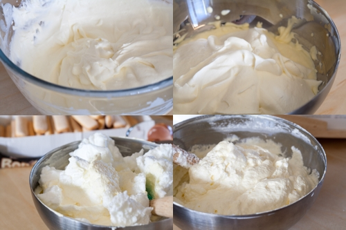 Putting together the mascarpone, egg and cream mixture