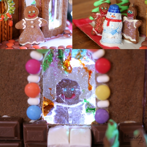 Happy gingerbread family decorated with edible glitter