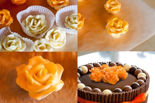 White chocolate roses for decoration