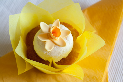 My gumpaste daffodil on a luscious lemon cupcake with mascarpone frosting