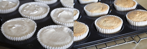 Batter and baked. You can fill the cupcake liners almost to the top, unlike other cupcake batter. they will rise quite a lot in the oven but then settle down once cooled