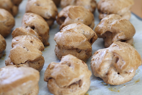 Chocolate choux puffs