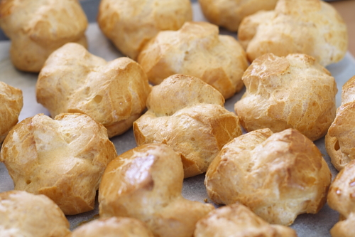 Light, airy choux puffs ready to be filled
