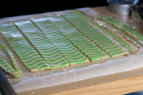 Cut into strips and ready for the food ring