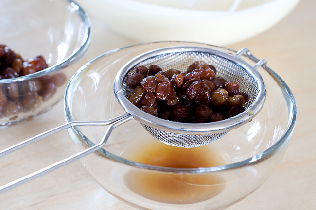Plump raisins draining, both them and the drained rum will be used in the ice-cream