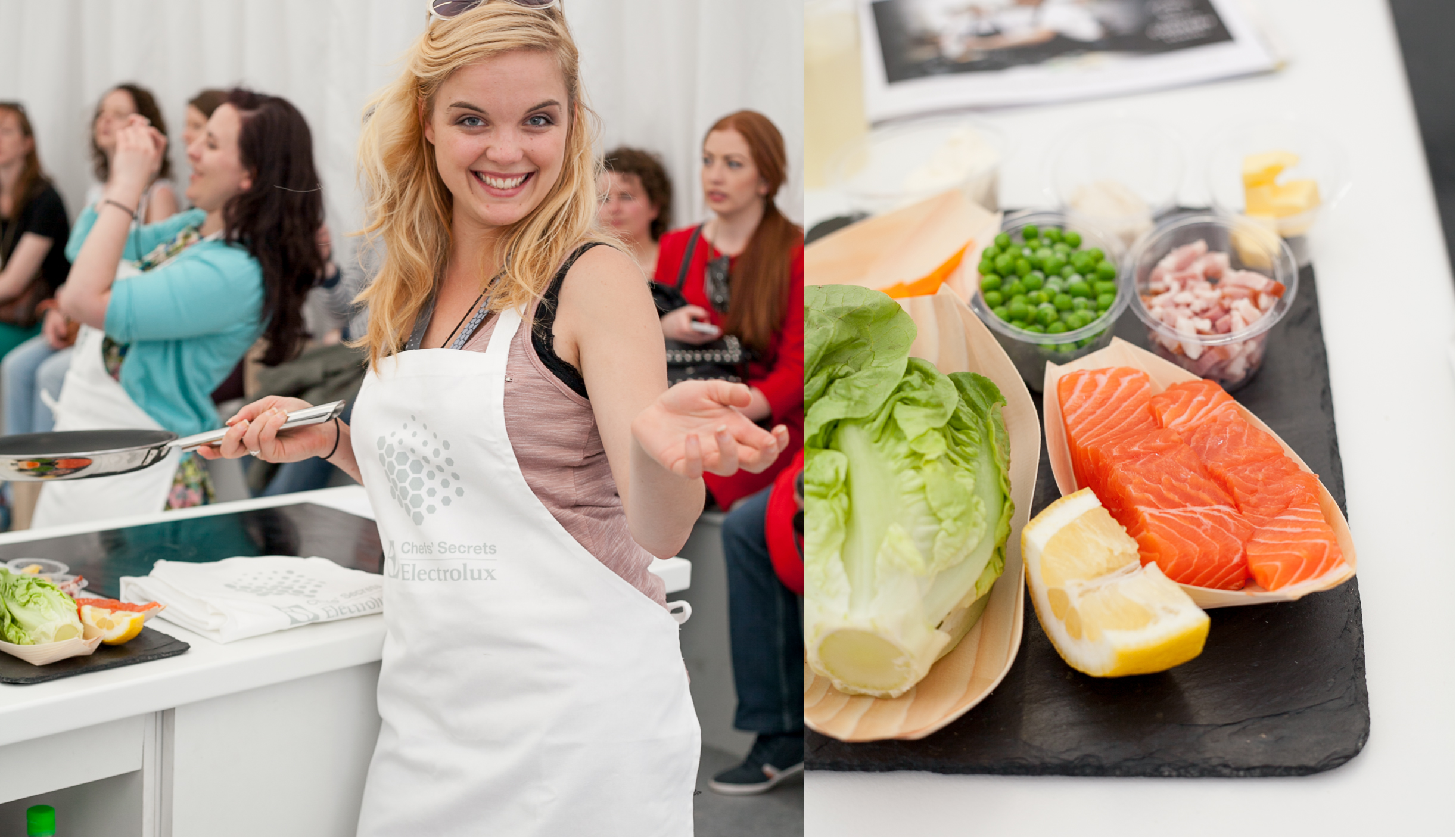 Left: Sasha, my partner in cooking crime that day at the Taste of Dublin  Right: Our ingredients for the cooking lesson in the Electrolux Chefs' Secrets tent