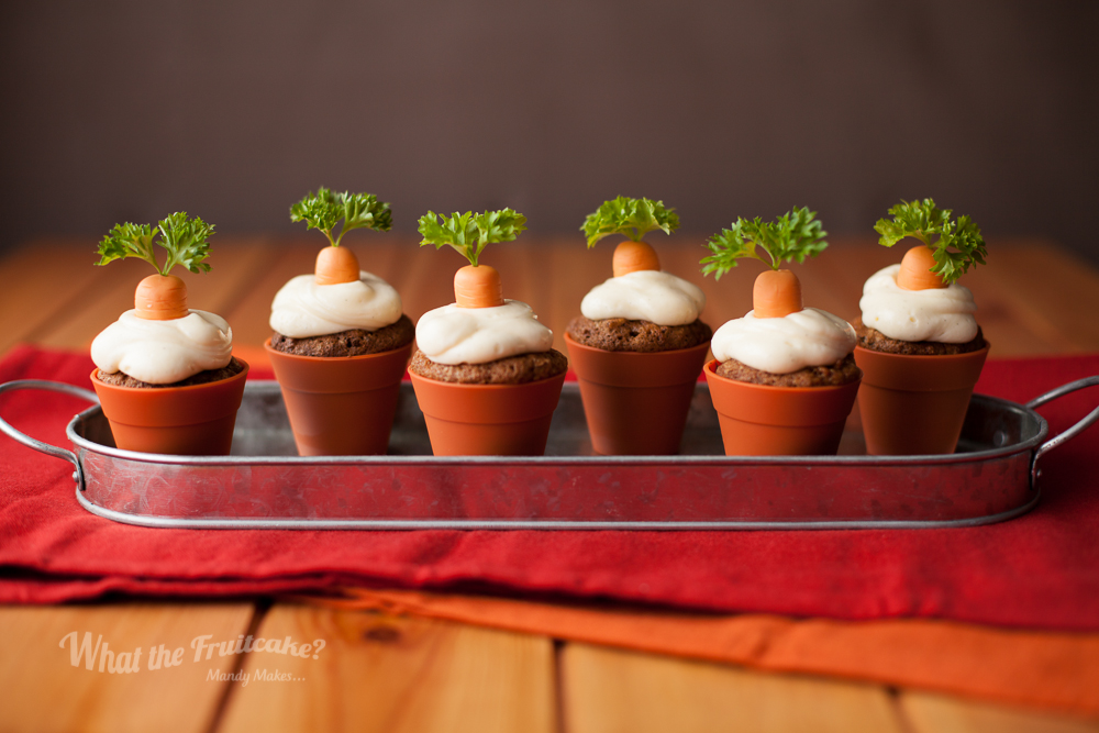 "Growing some carrot cupcakes... The bride's mum, Alison, surprised me with a bag of goodies from Lakeland, a store we don't get in Ireland. In that bag of goodies were these seriously cute cupcake ""pots"" made from silicon. I think they're pretty convincing and just plain awesome!"