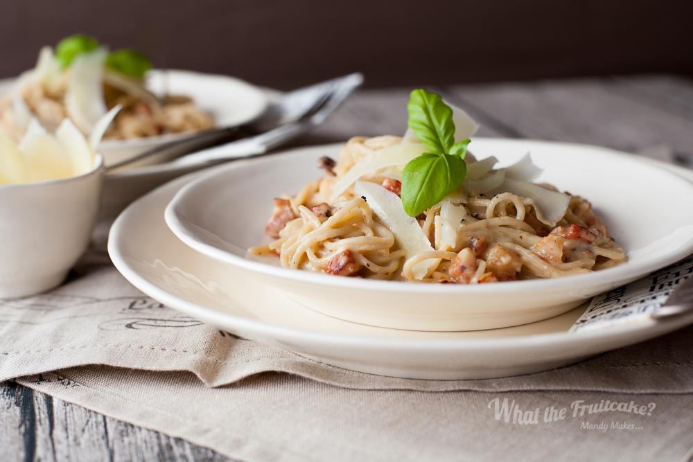 On the Stove...  Brown Rice Spaghetti Carbonara