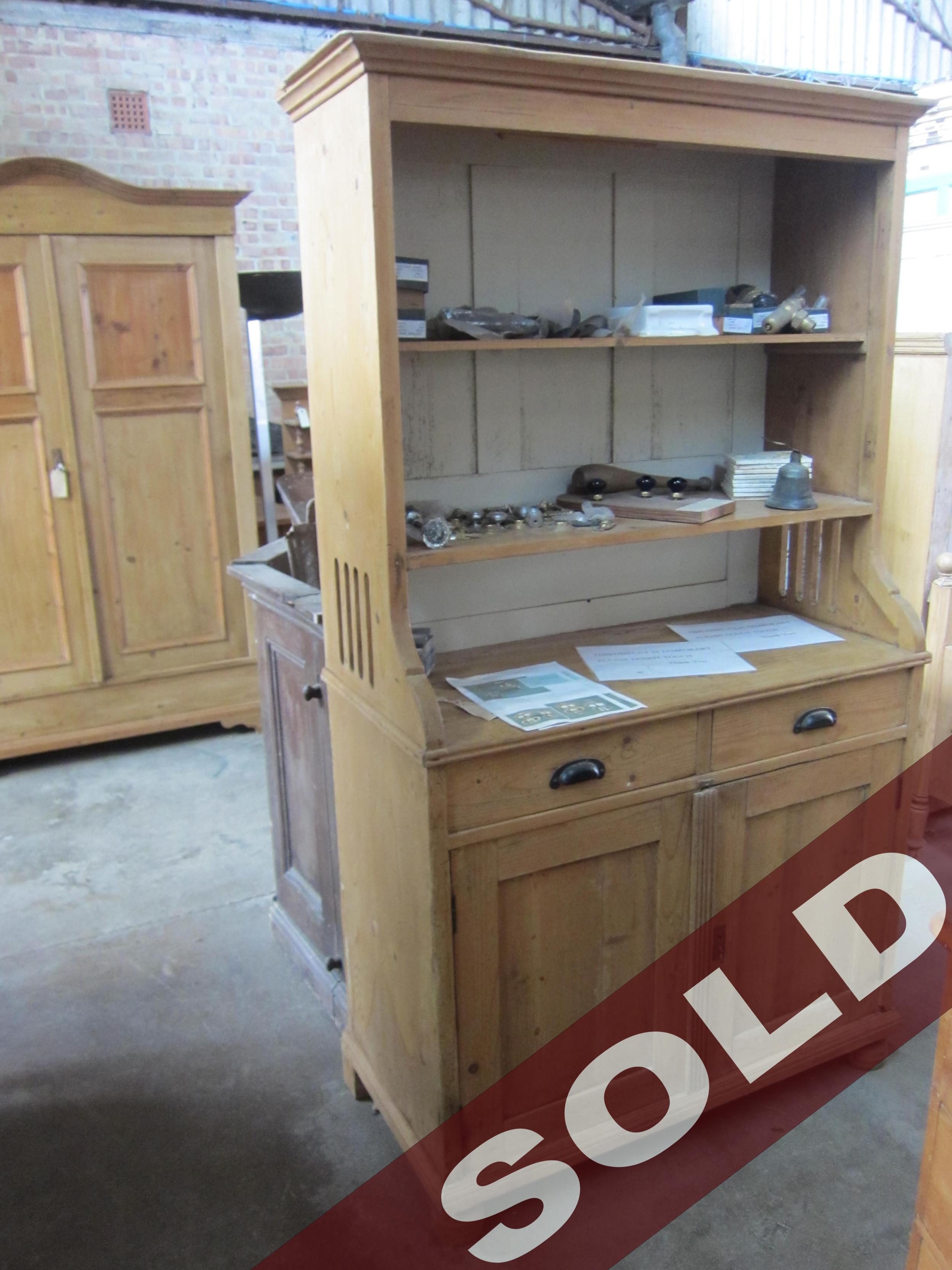 63 - 1900 pine 2 drawer 2 door dresser