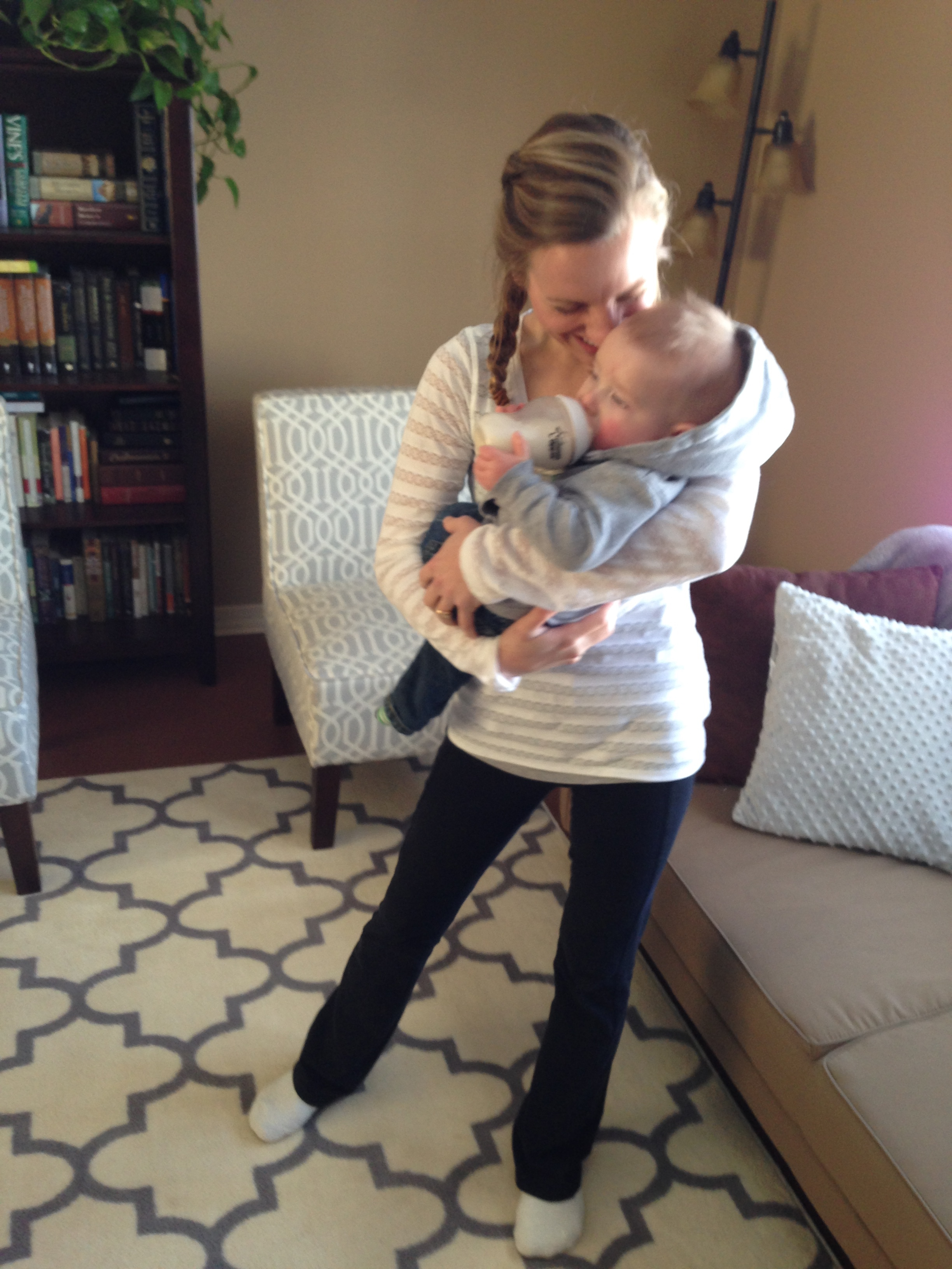 The first glorious time I stood on one leg to hold Jack.