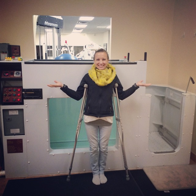 Finally up on crutches, with the help of the underwater treadmill!