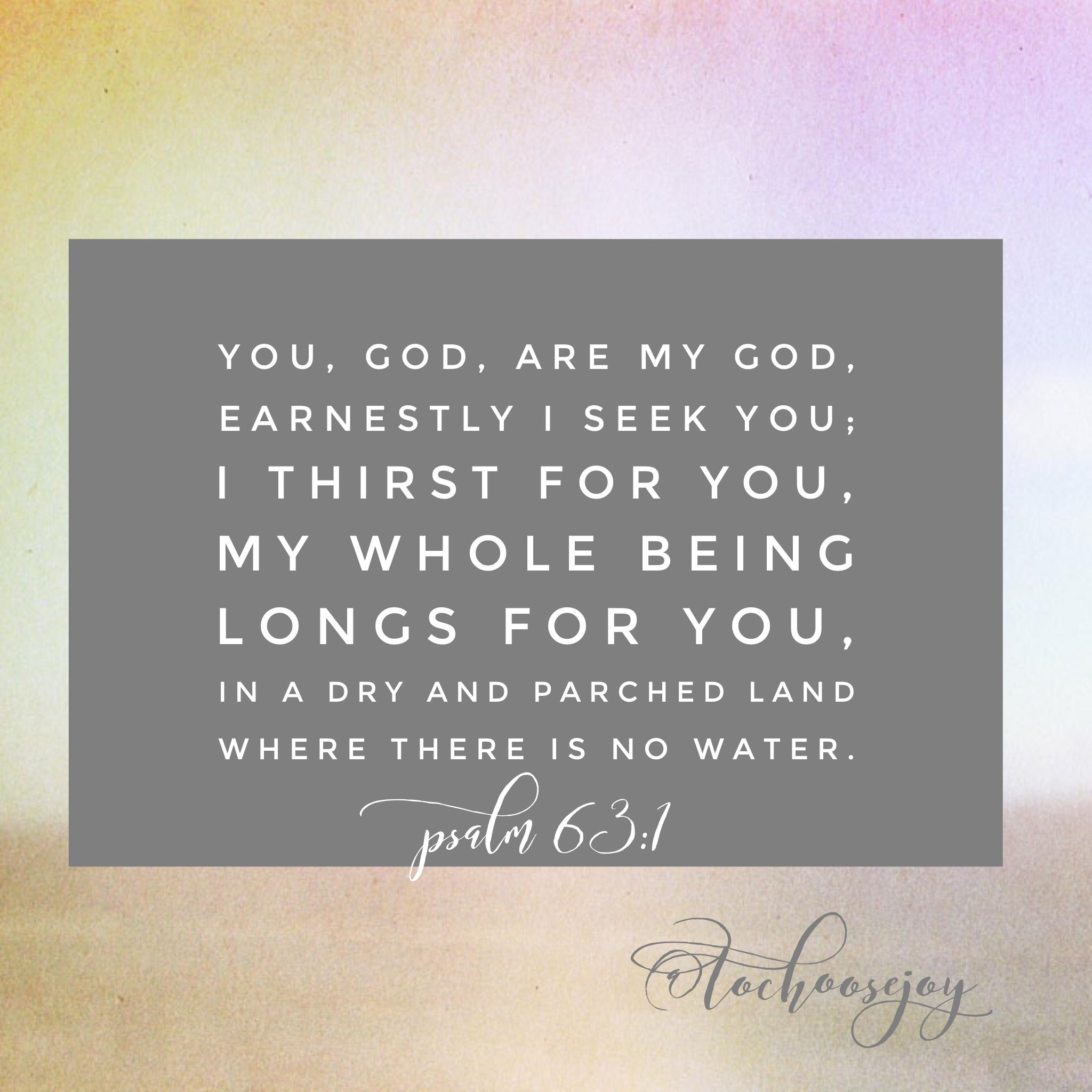 To Choose Joy Psalm 63:1 I thirst for you God