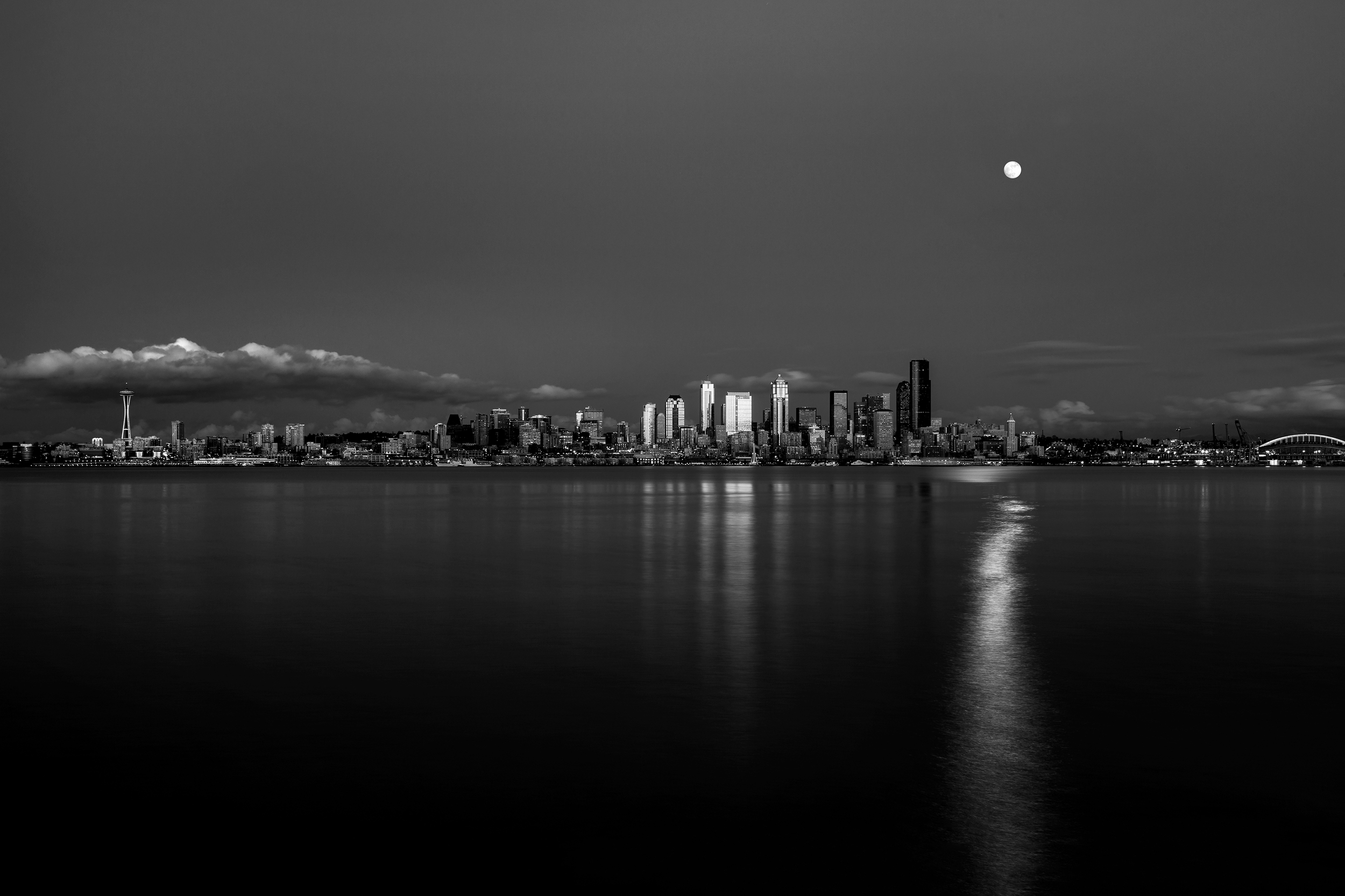Moonrise over Seattle, WA.