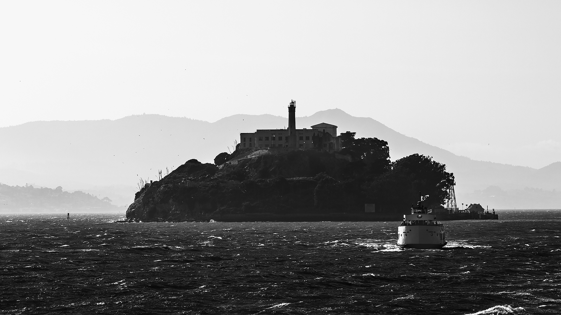 On the boat heading out from Alcatraz Island. The view out behind the boat looked like a scene out of a movie.