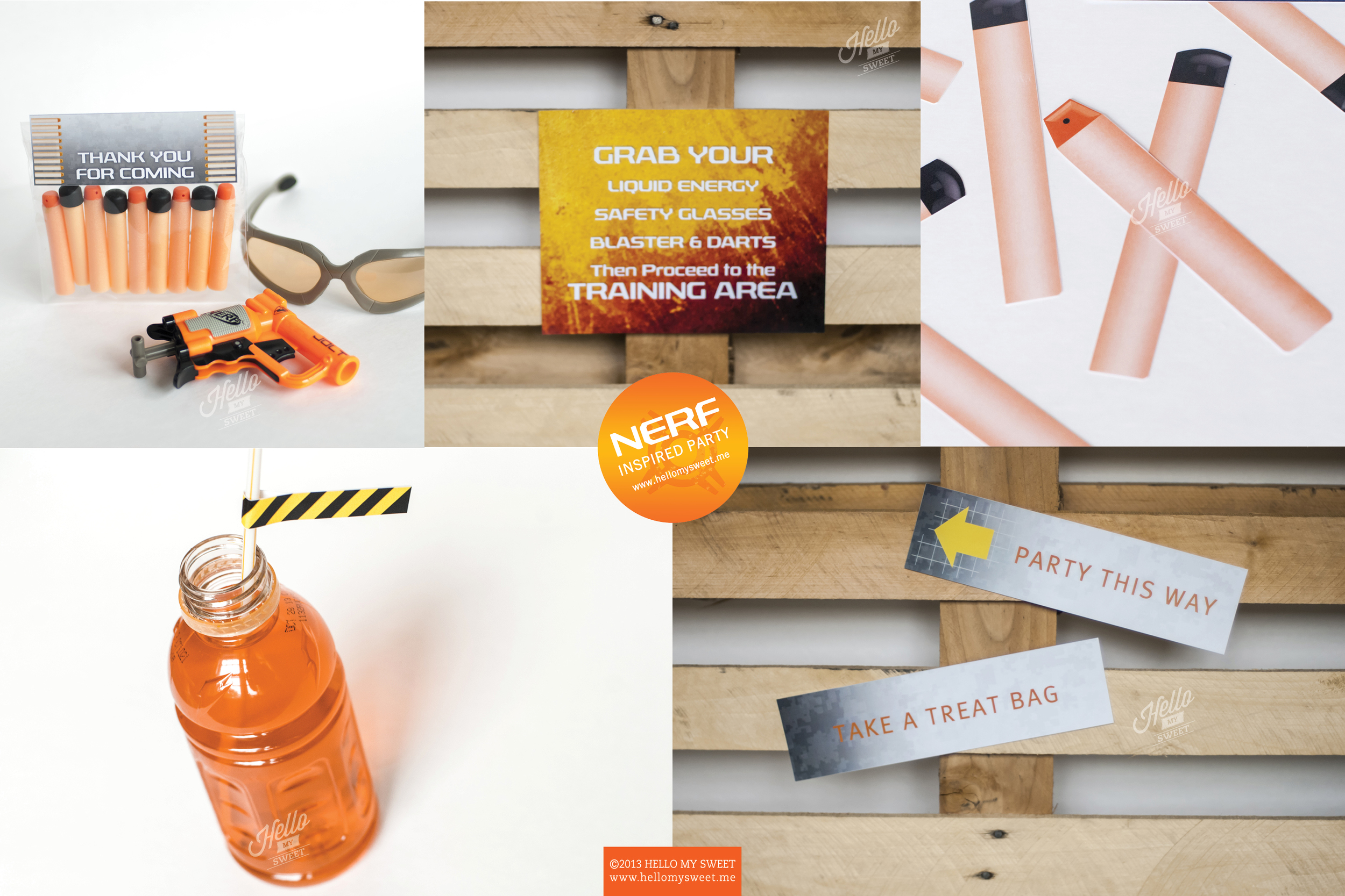 Nerf Birthday Party - Printable Decorations Set