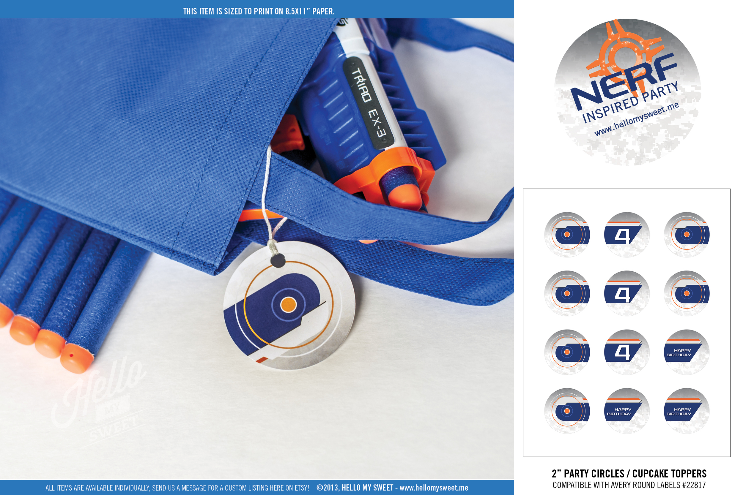 "Nerf Birthday Party - Printable 2"" Circle Tags"